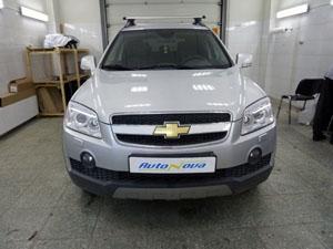 Установка механического замка Construct на коробку передач (механическая защита) на автомобиль Chevrolet Captiva