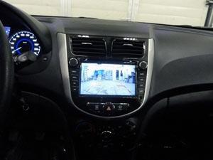 Установка парковочной камеры SKY на автомобиль Hyundai Solaris Hatchback